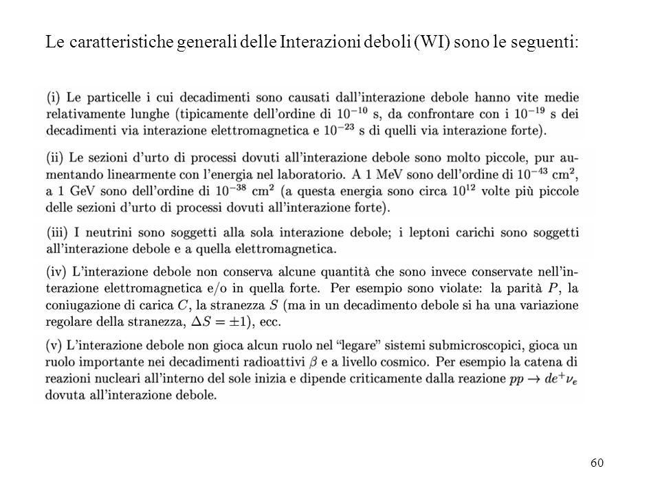 Le caratteristiche generali delle Interazioni deboli (WI) sono le seguenti: