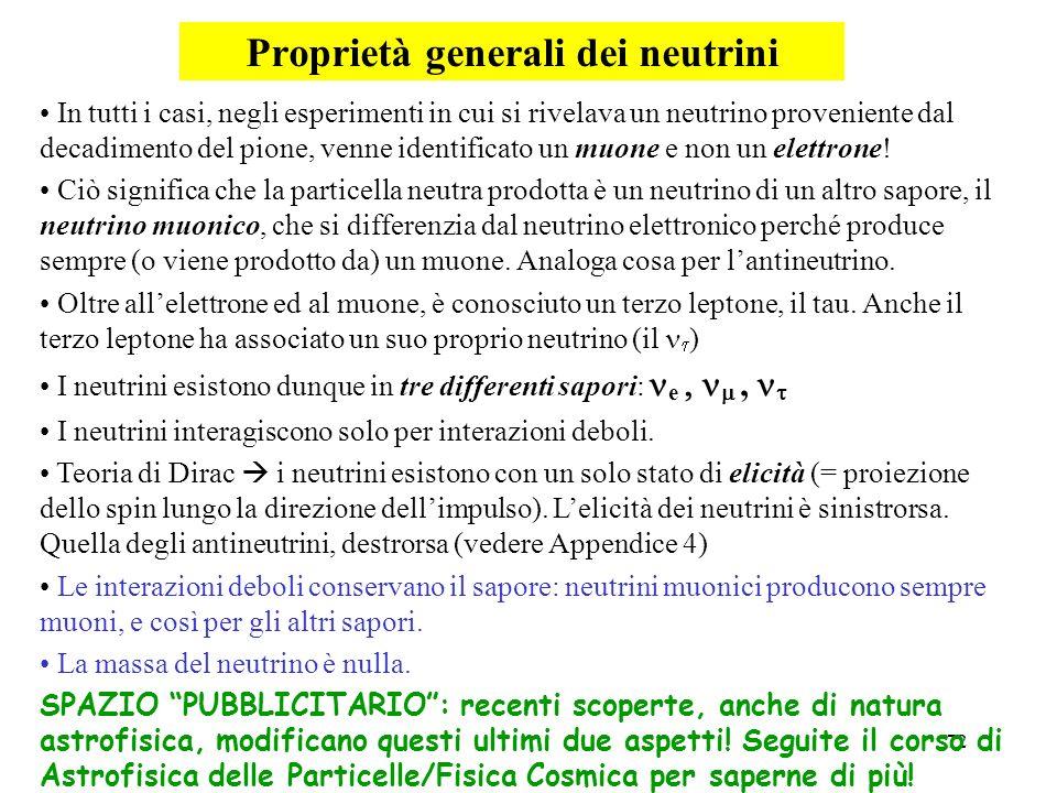 Proprietà generali dei neutrini