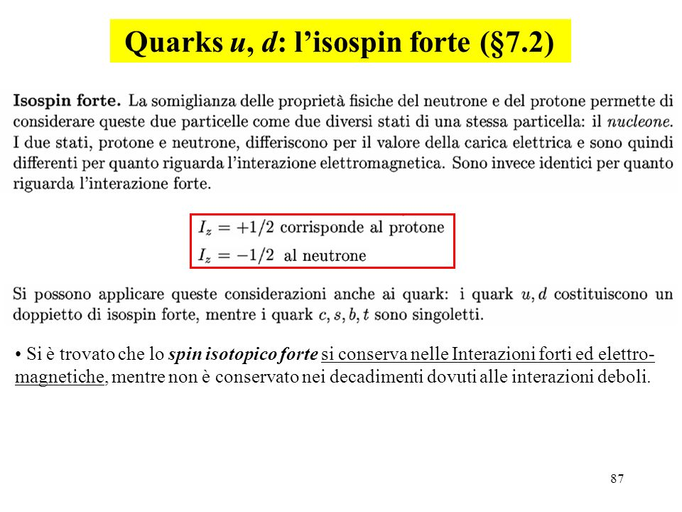 Quarks u, d: l'isospin forte (§7.2)