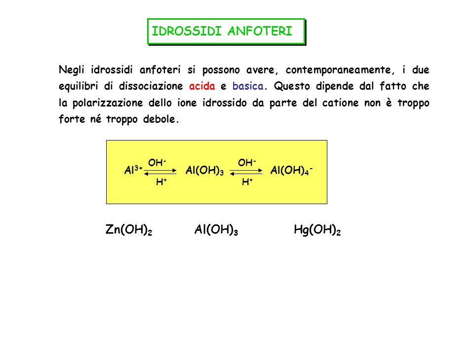 IDROSSIDI ANFOTERI Zn(OH)2 Al(OH)3 Hg(OH)2