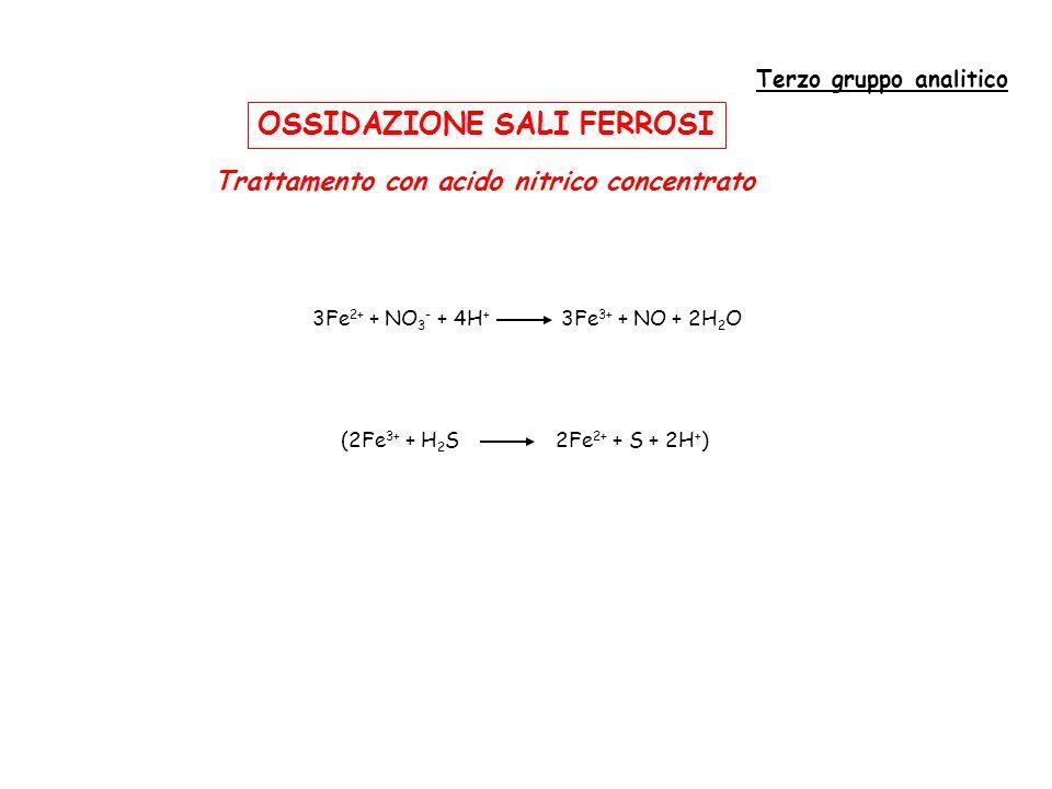 Terzo gruppo analitico Trattamento con acido nitrico concentrato