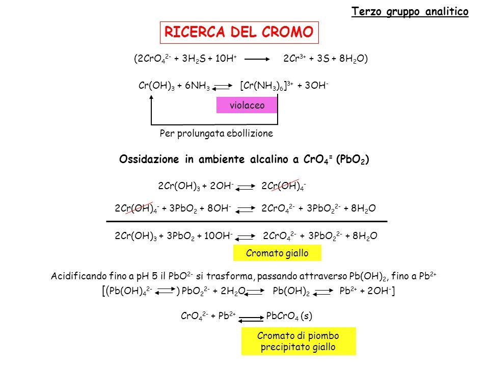 Terzo gruppo analitico Ossidazione in ambiente alcalino a CrO4= (PbO2)