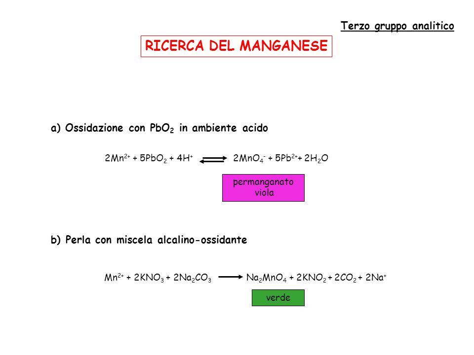 RICERCA DEL MANGANESE Terzo gruppo analitico
