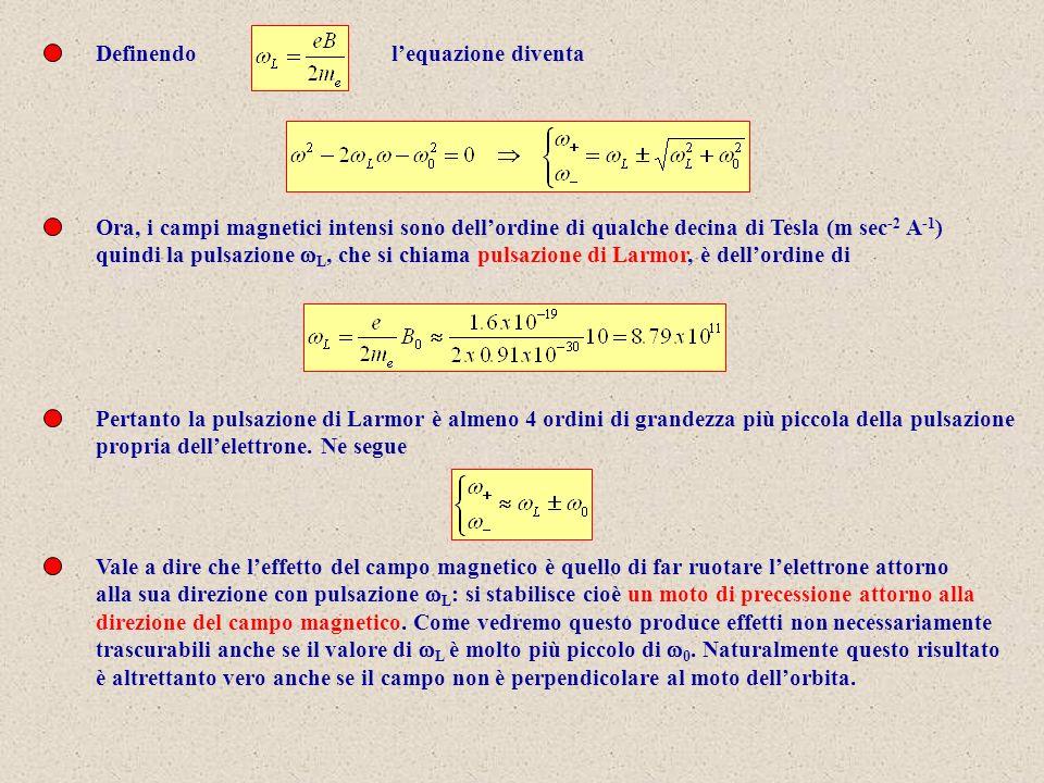 Definendo l'equazione diventa. Ora, i campi magnetici intensi sono dell'ordine di qualche decina di Tesla (m sec-2 A-1)
