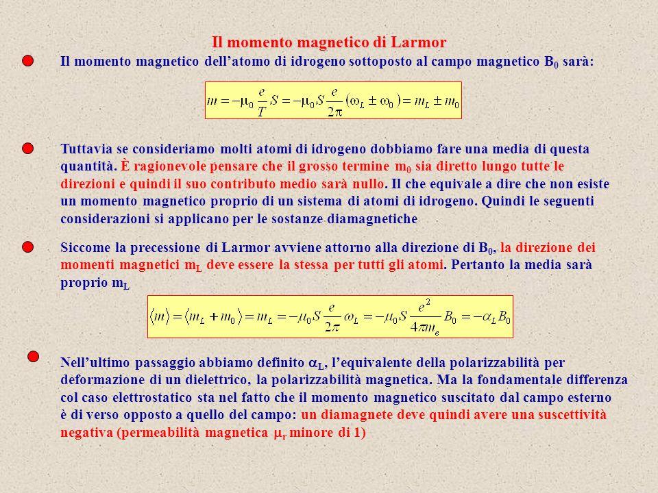 Il momento magnetico di Larmor