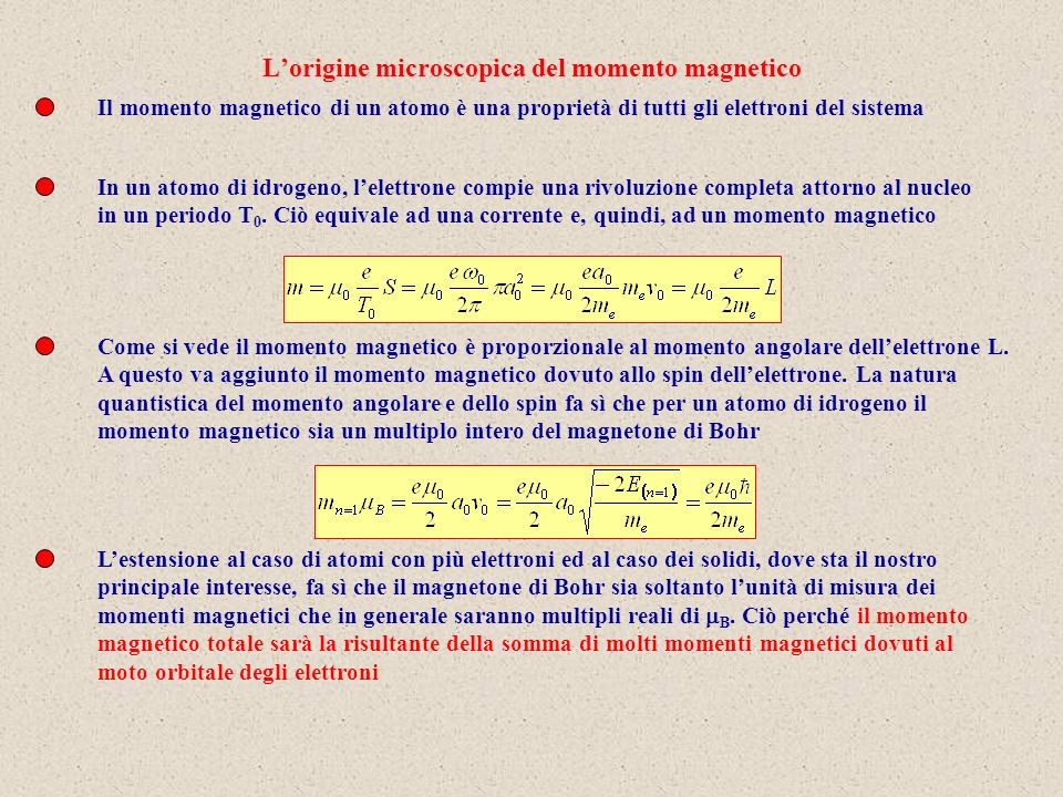L'origine microscopica del momento magnetico