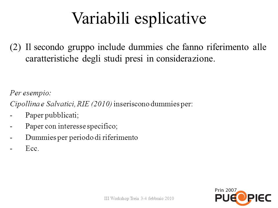 Variabili esplicative