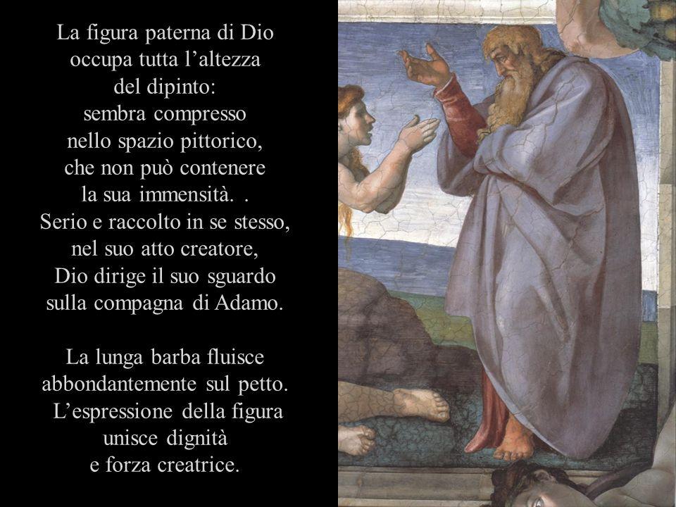 La figura paterna di Dio occupa tutta l'altezza del dipinto:
