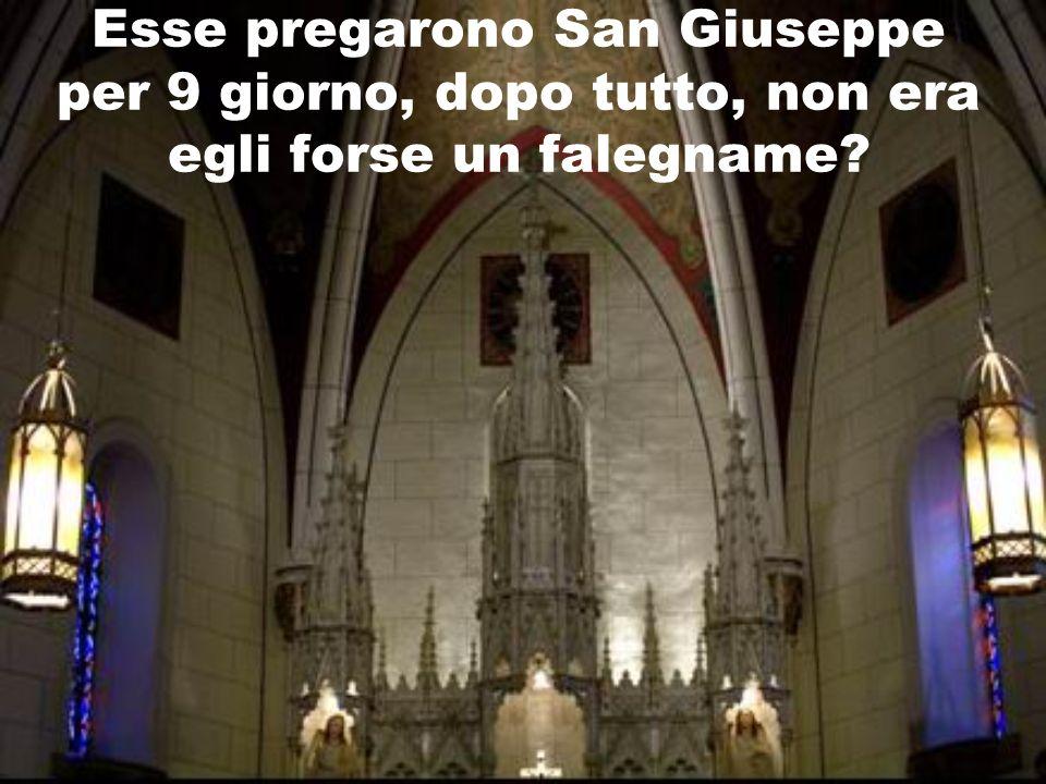 Esse pregarono San Giuseppe per 9 giorno, dopo tutto, non era egli forse un falegname