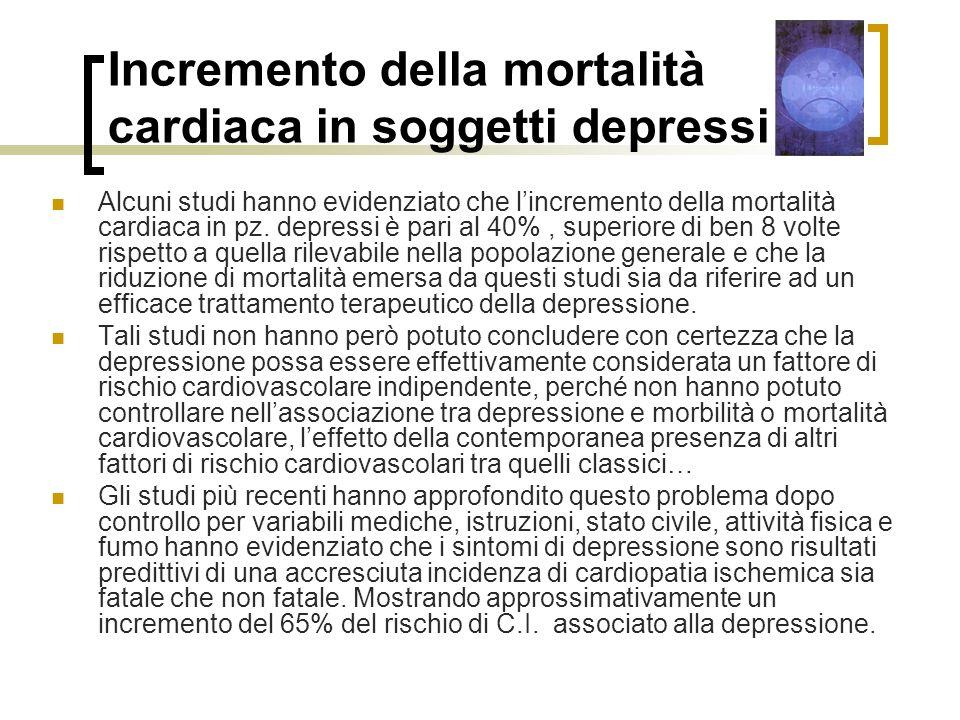 Incremento della mortalità cardiaca in soggetti depressi