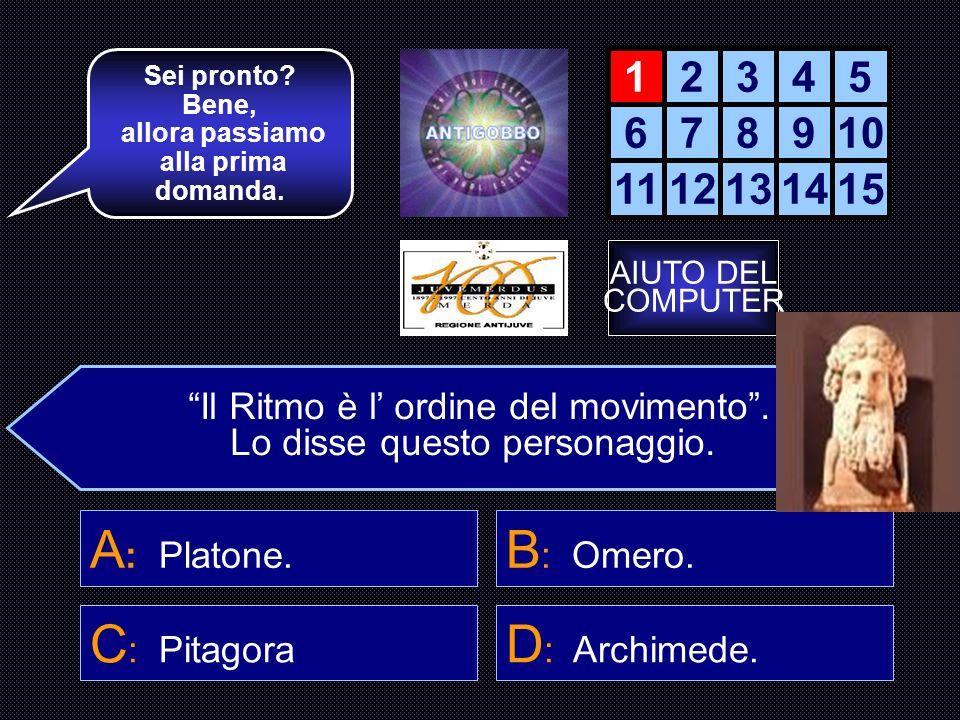 A: Platone. B: Omero. C: Pitagora D: Archimede. 1 2 3 4 5 6 7 8 9 10
