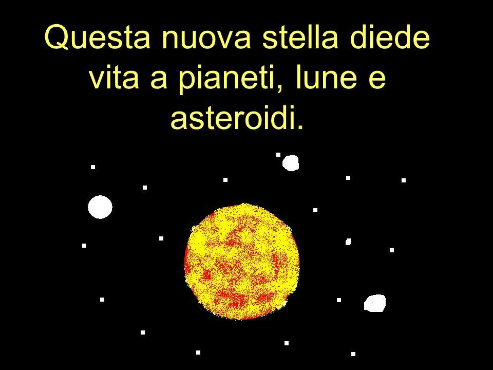 Questa nuova stella diede vita a pianeti, lune e asteroidi.