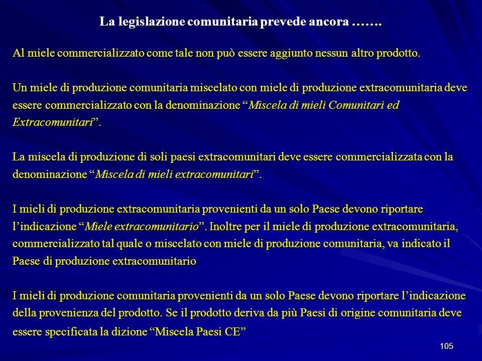 La legislazione comunitaria prevede ancora …….