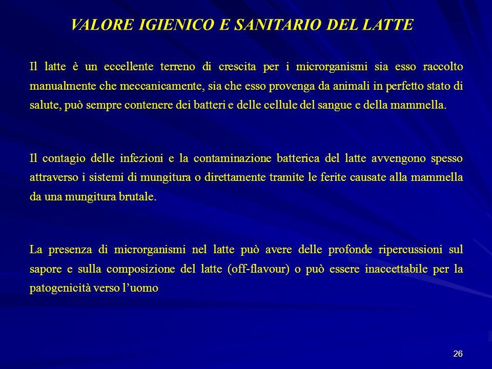 VALORE IGIENICO E SANITARIO DEL LATTE