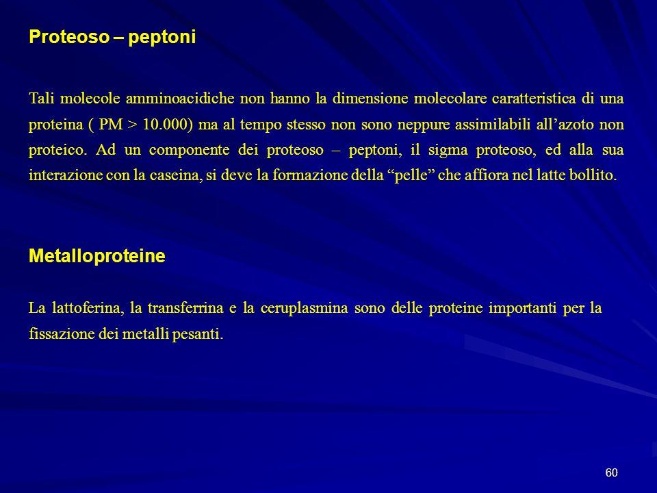 Proteoso – peptoni Metalloproteine