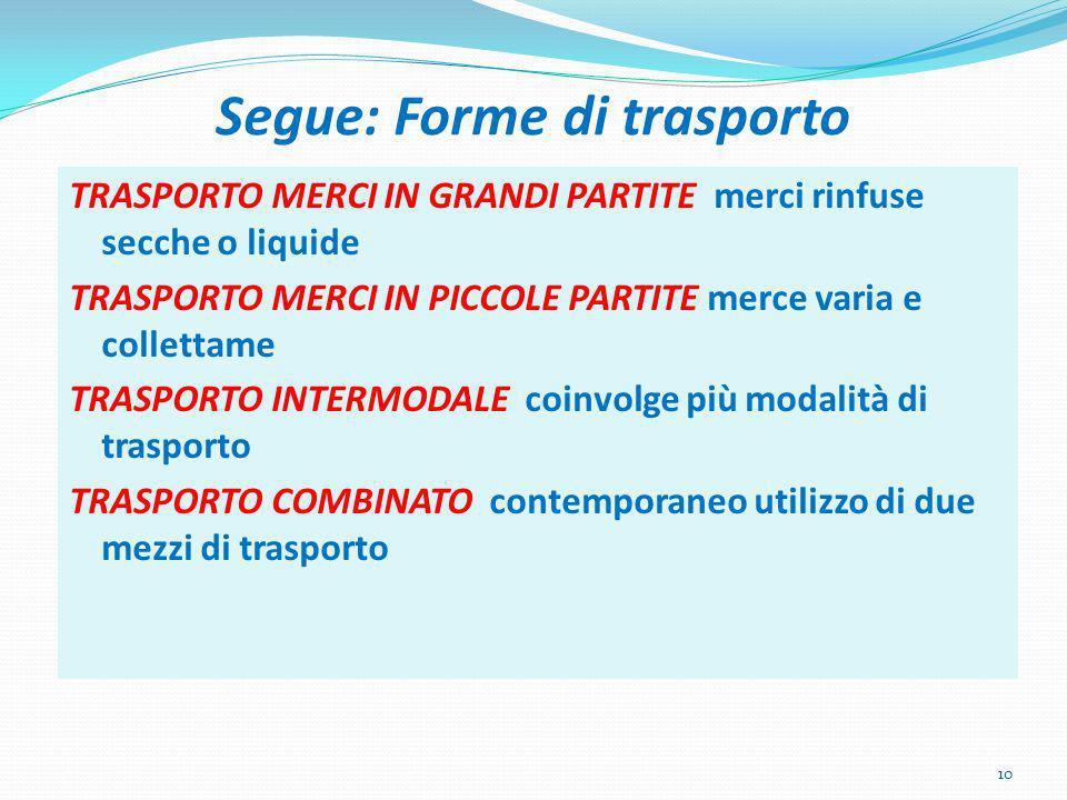 Segue: Forme di trasporto
