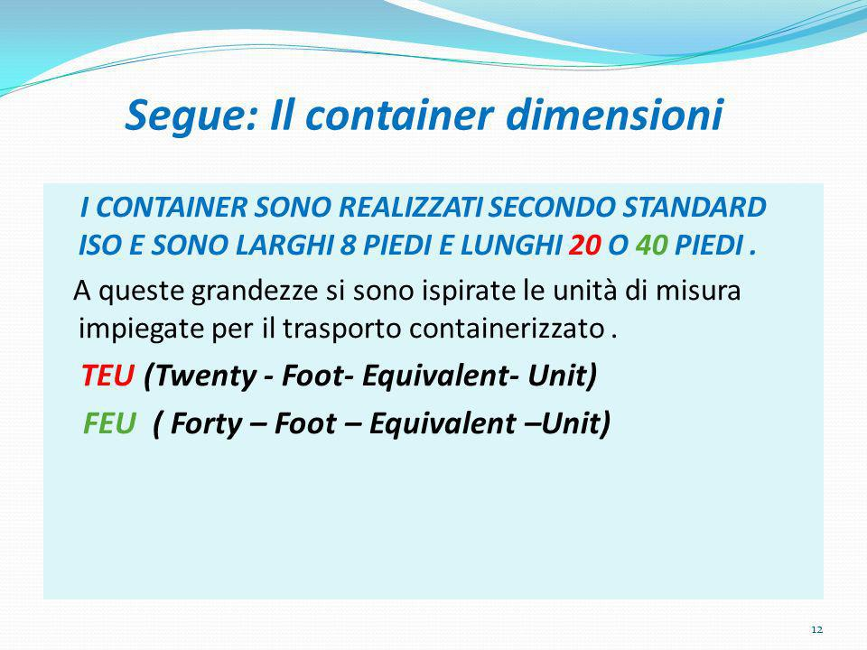 Segue: Il container dimensioni