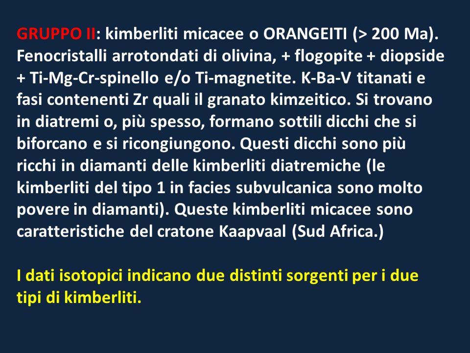 GRUPPO II: kimberliti micacee o ORANGEITI (> 200 Ma)