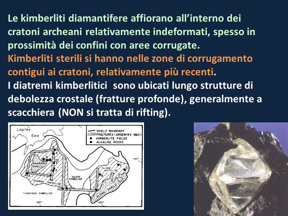 Le kimberliti diamantifere affiorano all'interno dei cratoni archeani relativamente indeformati, spesso in prossimità dei confini con aree corrugate.