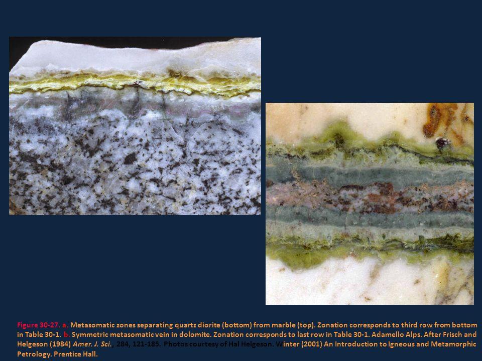 Figure 30-27. a. Metasomatic zones separating quartz diorite (bottom) from marble (top).