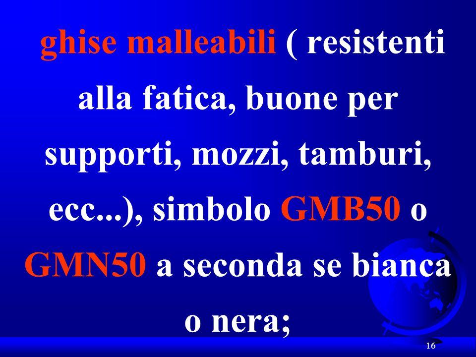 ghise malleabili ( resistenti alla fatica, buone per supporti, mozzi, tamburi, ecc...), simbolo GMB50 o GMN50 a seconda se bianca o nera;