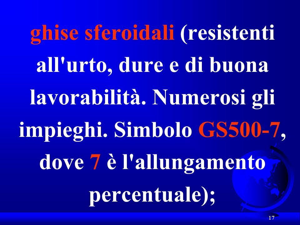 ghise sferoidali (resistenti all urto, dure e di buona lavorabilità