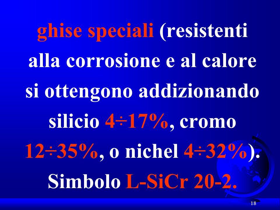 ghise speciali (resistenti alla corrosione e al calore si ottengono addizionando silicio 4÷17%, cromo 12÷35%, o nichel 4÷32%).