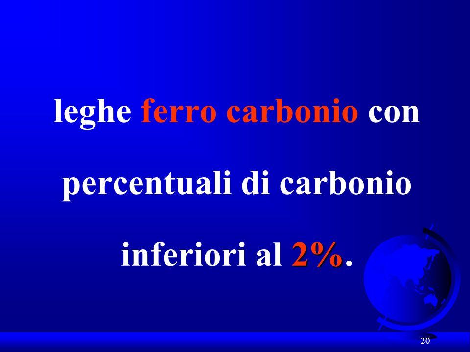 leghe ferro carbonio con percentuali di carbonio inferiori al 2%.