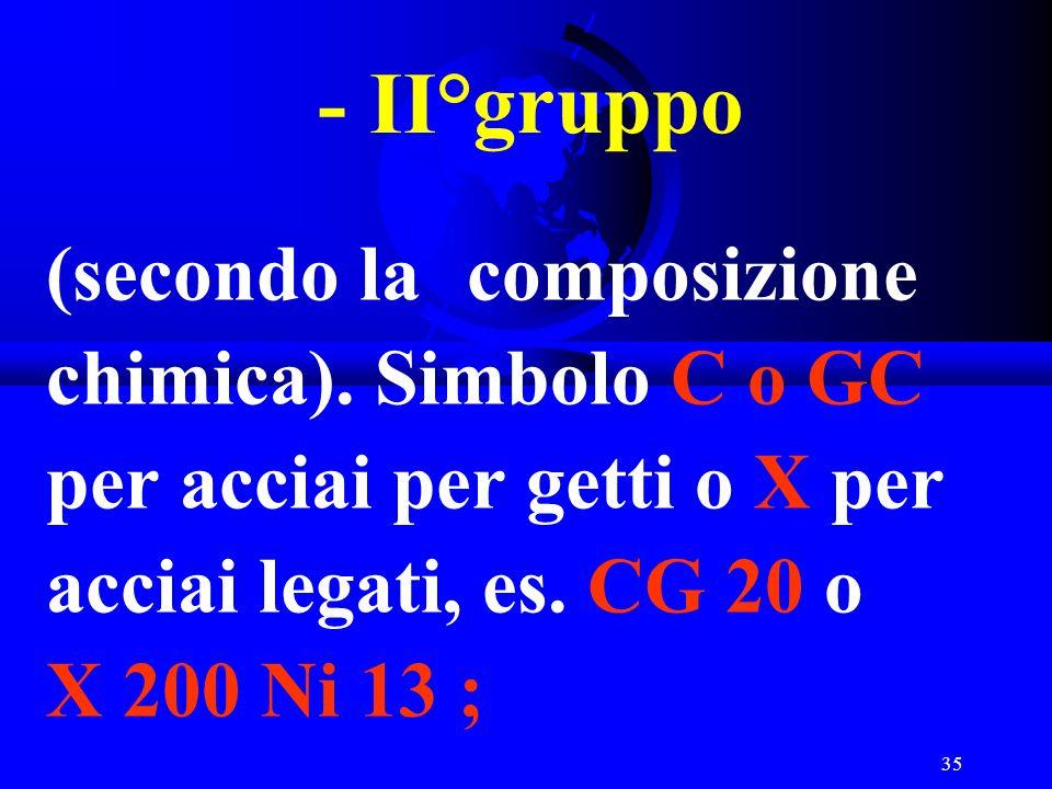- II°gruppo (secondo la composizione chimica).
