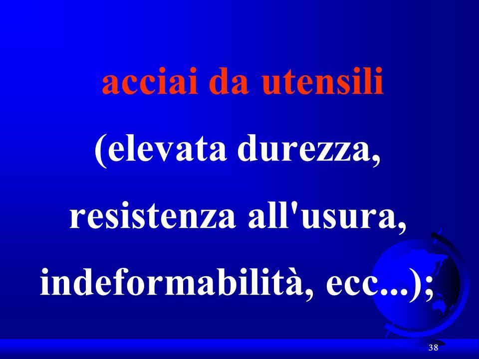 acciai da utensili (elevata durezza, resistenza all usura, indeformabilità, ecc...);