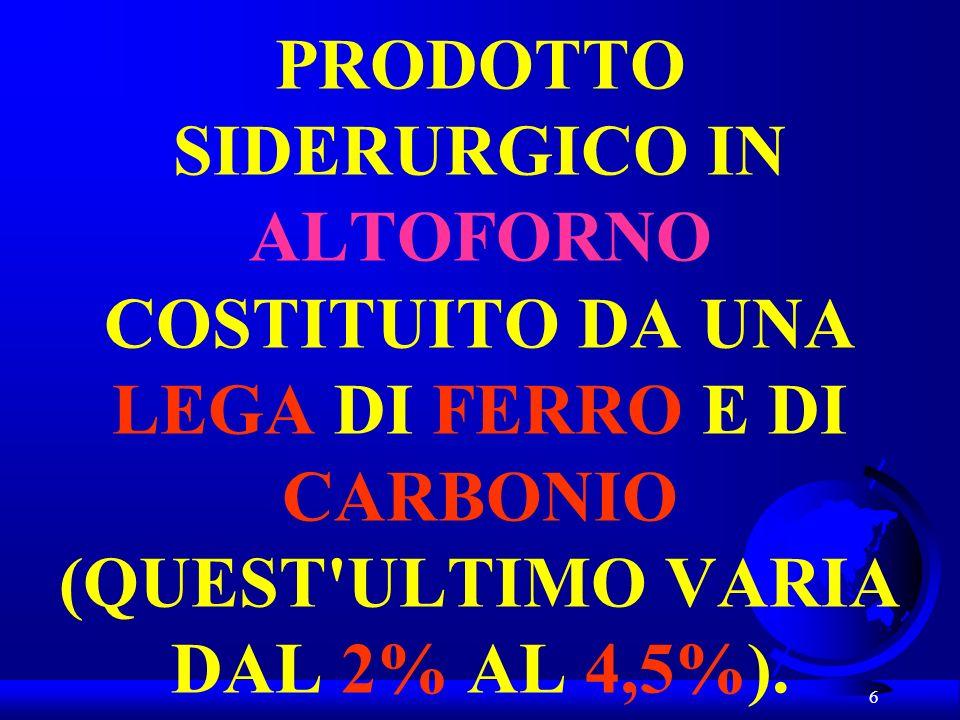 PRODOTTO SIDERURGICO IN ALTOFORNO COSTITUITO DA UNA LEGA DI FERRO E DI CARBONIO (QUEST ULTIMO VARIA DAL 2% AL 4,5%).