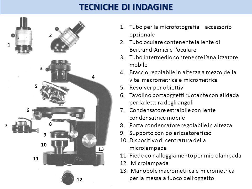 TECNICHE DI INDAGINE 12. 11. 13. 10. 9. 8. 7. 6. 3. 4. 5. 1. 2. Tubo per la microfotografia – accessorio opzionale.