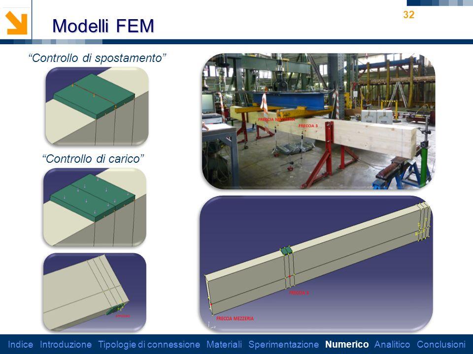 Modelli FEM Controllo di spostamento Controllo di carico