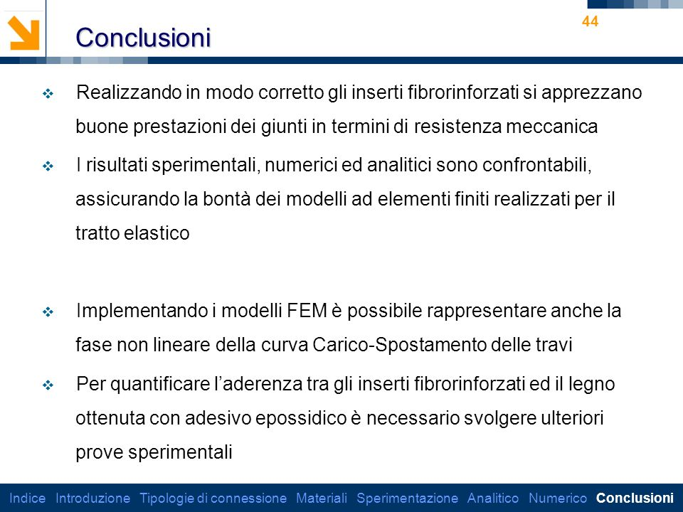 Conclusioni Realizzando in modo corretto gli inserti fibrorinforzati si apprezzano buone prestazioni dei giunti in termini di resistenza meccanica.