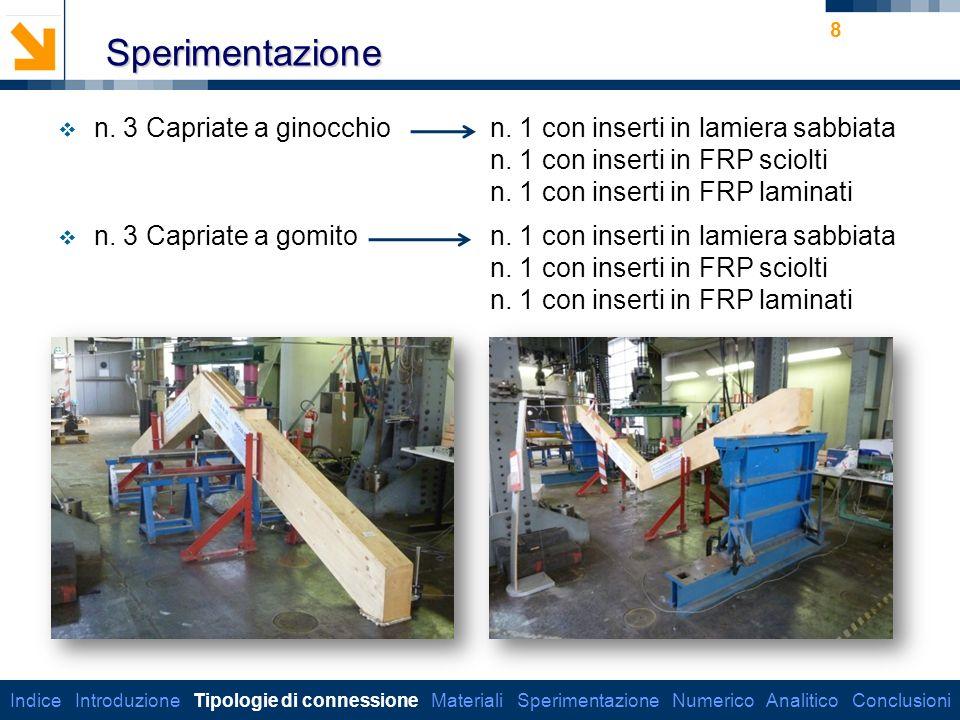 Sperimentazione n. 3 Capriate a ginocchio n. 1 con inserti in lamiera sabbiata. n. 1 con inserti in FRP sciolti.