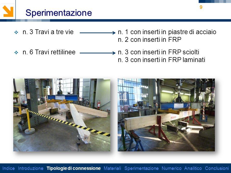 Sperimentazione n. 3 Travi a tre vie n. 1 con inserti in piastre di acciaio. n. 2 con inserti in FRP.