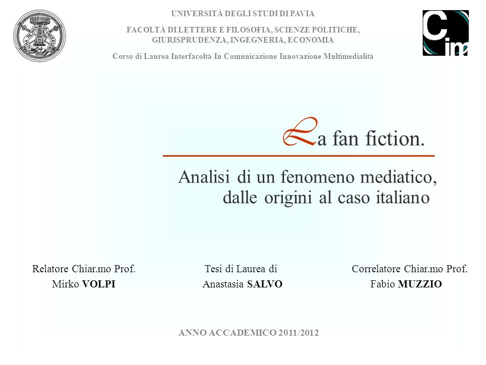 La fan fiction. Analisi di un fenomeno mediatico,