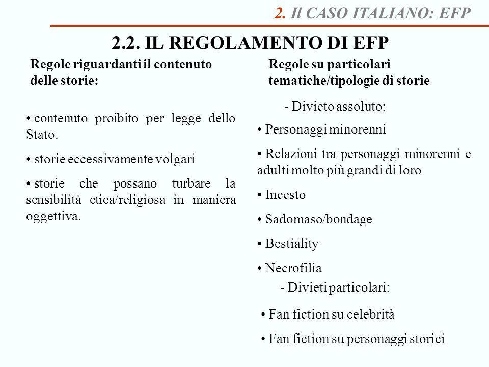 2.2. IL REGOLAMENTO DI EFP 2. Il CASO ITALIANO: EFP