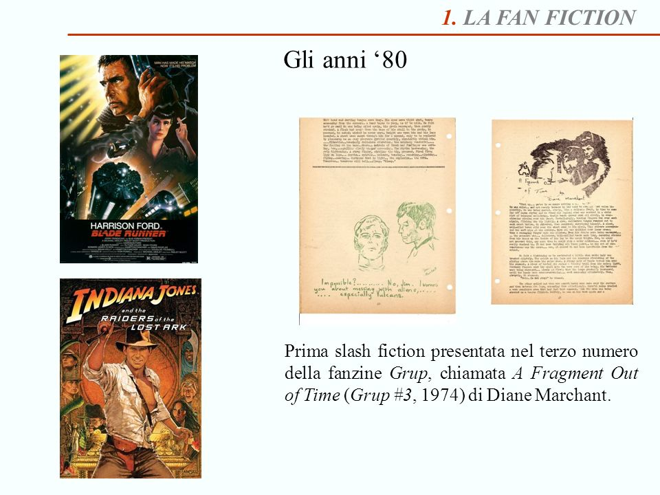 Gli anni '80 1. LA FAN FICTION