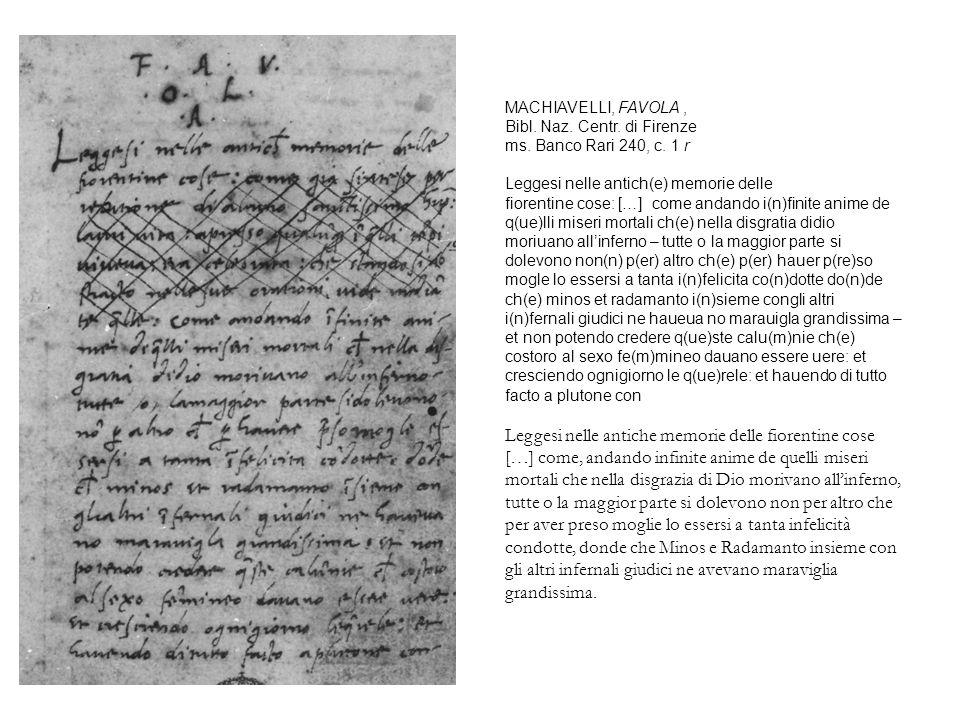 MACHIAVELLI, FAVOLA , Bibl. Naz. Centr. di Firenze ms