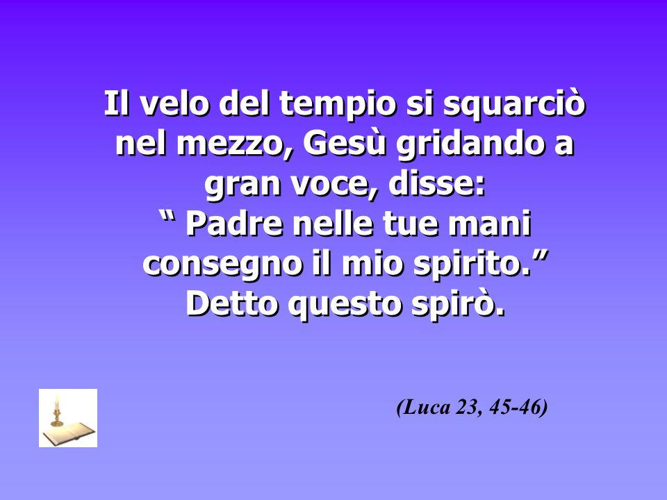 Il velo del tempio si squarciò nel mezzo, Gesù gridando a gran voce, disse: Padre nelle tue mani consegno il mio spirito. Detto questo spirò.
