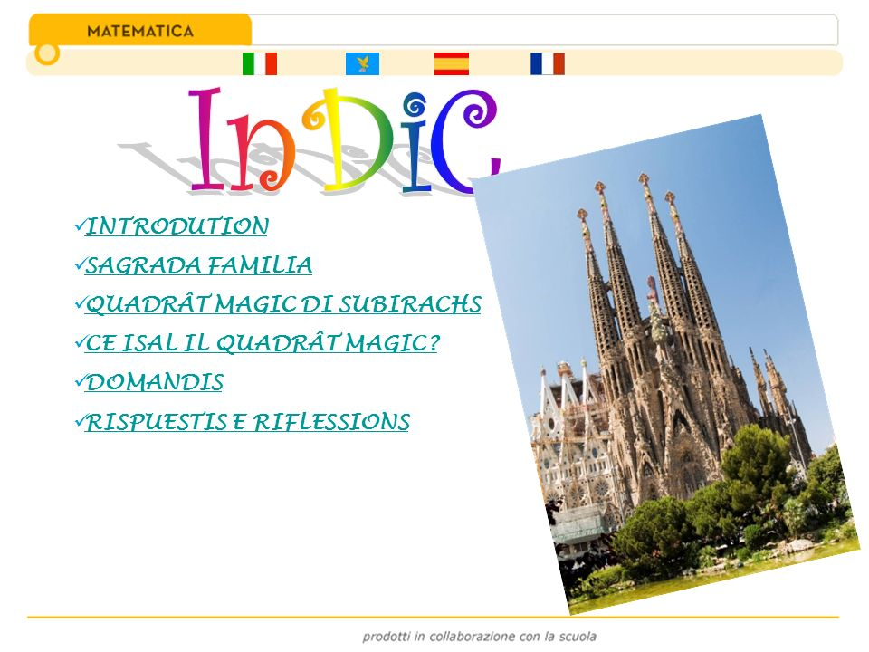 InDiC INTRODUTION SAGRADA FAMILIA QUADRÂT MAGIC DI SUBIRACHS
