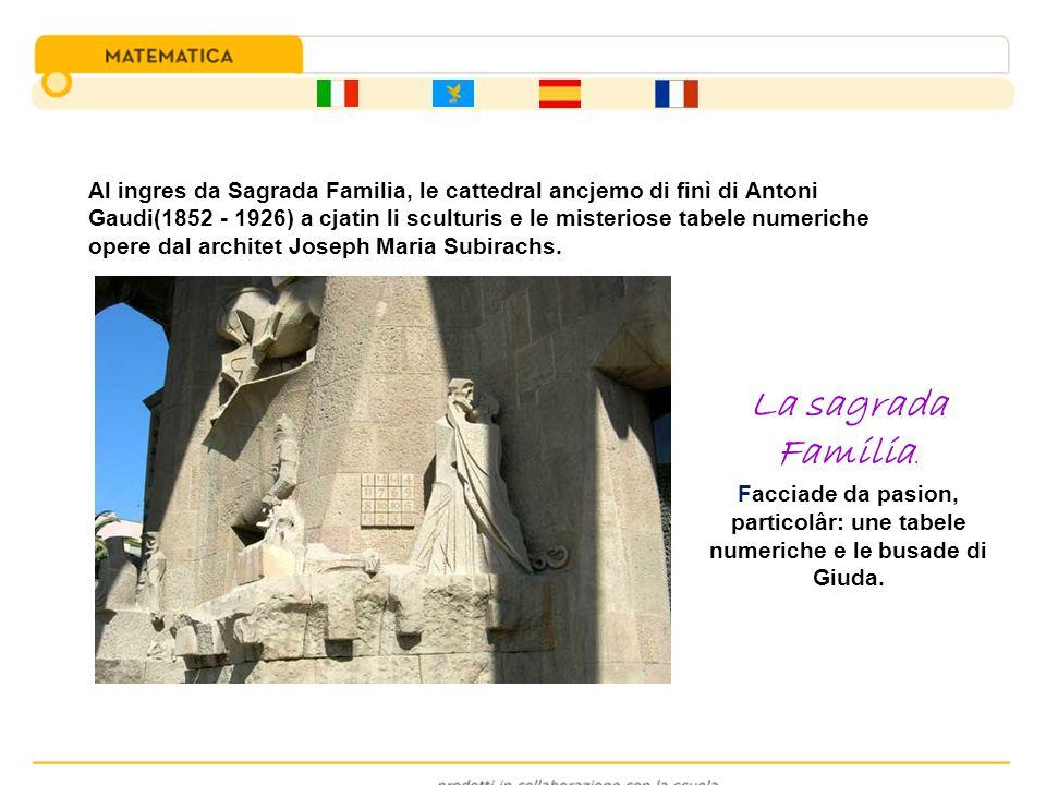 Al ingres da Sagrada Familia, le cattedral ancjemo di finì di Antoni Gaudi(1852 - 1926) a cjatin li sculturis e le misteriose tabele numeriche opere dal architet Joseph Maria Subirachs.