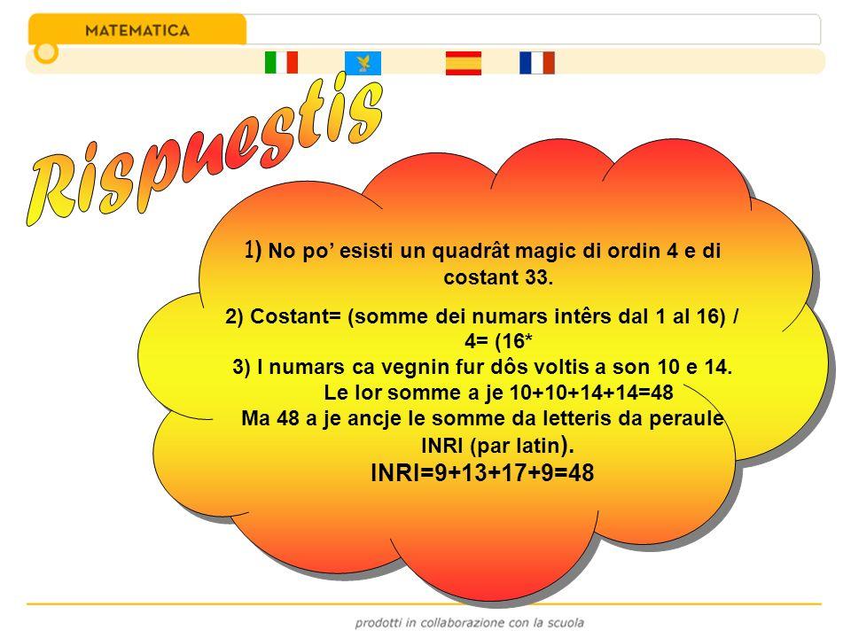 Rispuestis 1) No po' esisti un quadrât magic di ordin 4 e di costant 33. 2) Costant= (somme dei numars intêrs dal 1 al 16) / 4= (16*