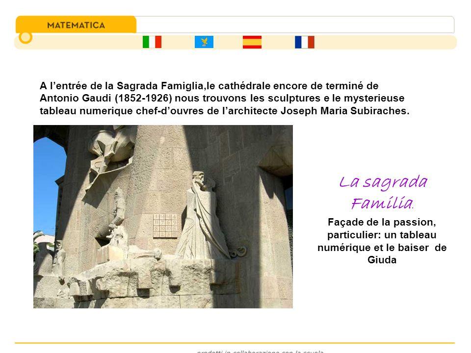 A l'entrée de la Sagrada Famiglia,le cathédrale encore de terminé de Antonio Gaudi (1852-1926) nous trouvons les sculptures e le mysterieuse tableau numerique chef-d'ouvres de l'architecte Joseph Maria Subiraches.