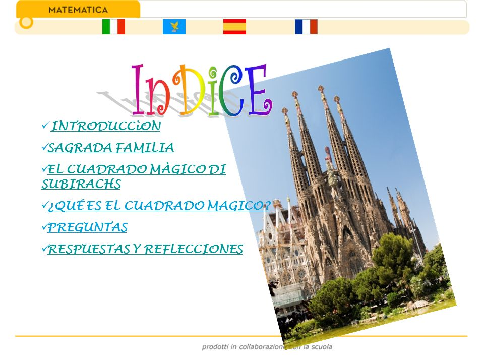 InDiCE INTRODUCCìON SAGRADA FAMILIA EL CUADRADO MÀGICO DI SUBIRACHS