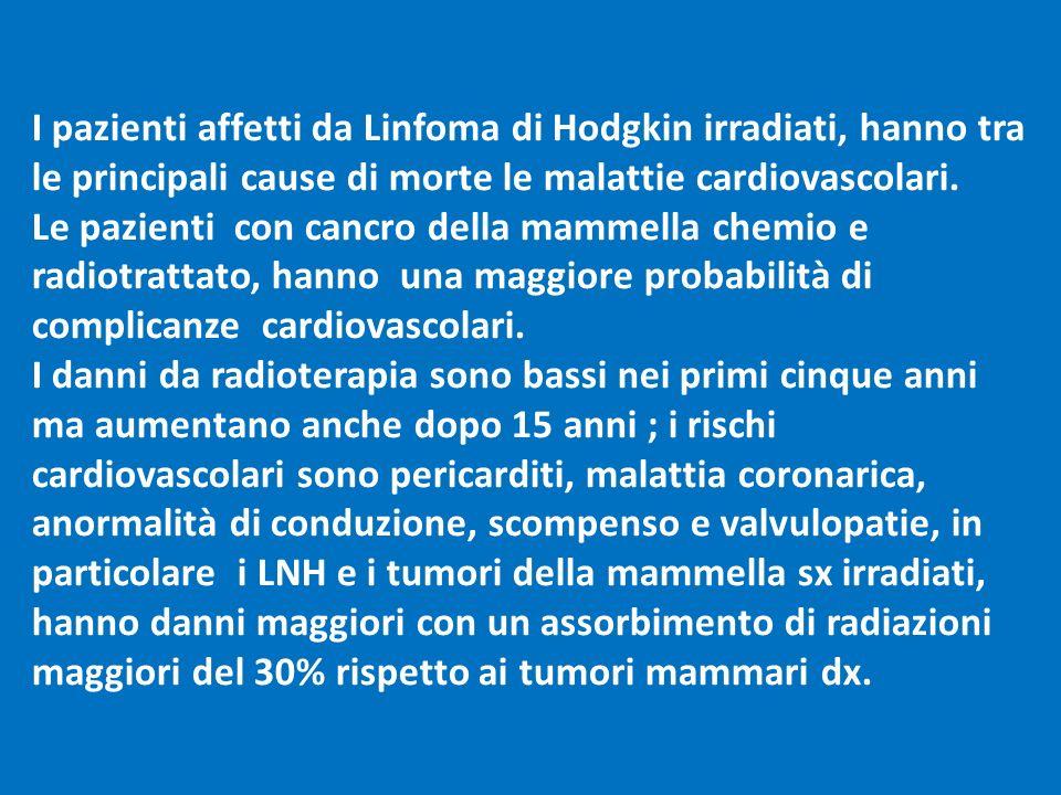 I pazienti affetti da Linfoma di Hodgkin irradiati, hanno tra le principali cause di morte le malattie cardiovascolari.