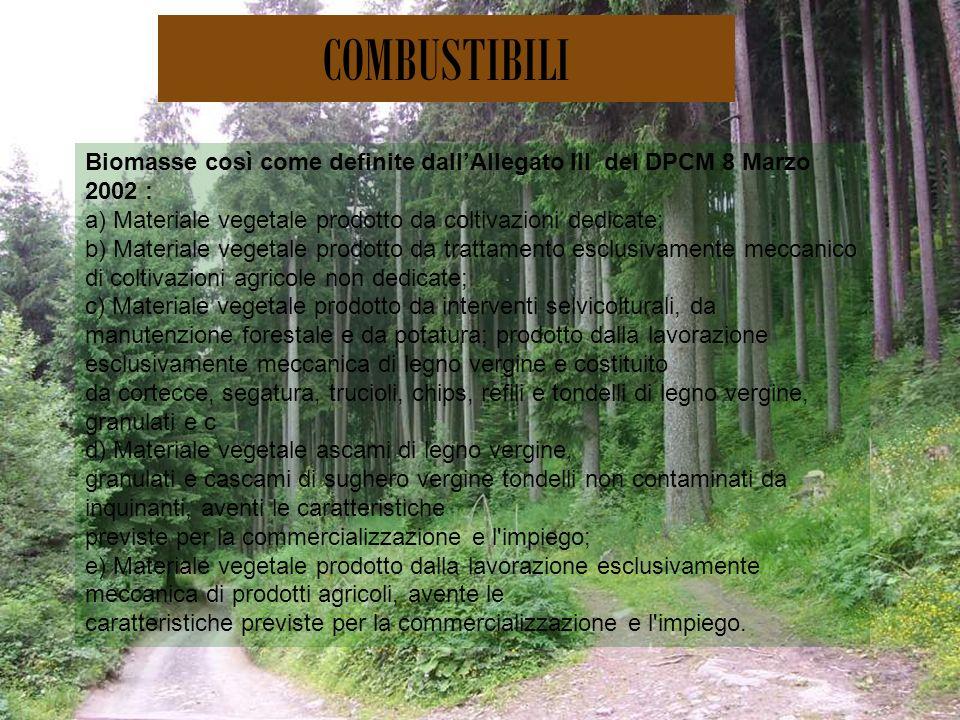 COMBUSTIBILI Biomasse così come definite dall'Allegato III del DPCM 8 Marzo 2002 : a) Materiale vegetale prodotto da coltivazioni dedicate;