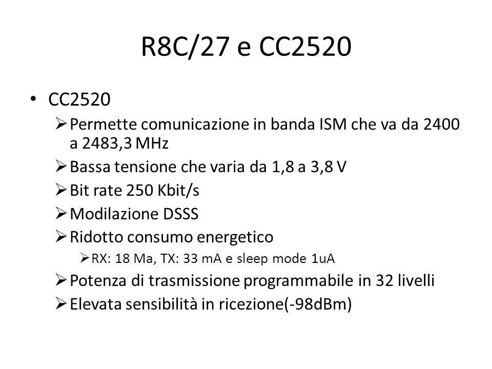 R8C/27 e CC2520 CC2520. Permette comunicazione in banda ISM che va da 2400 a 2483,3 MHz. Bassa tensione che varia da 1,8 a 3,8 V.