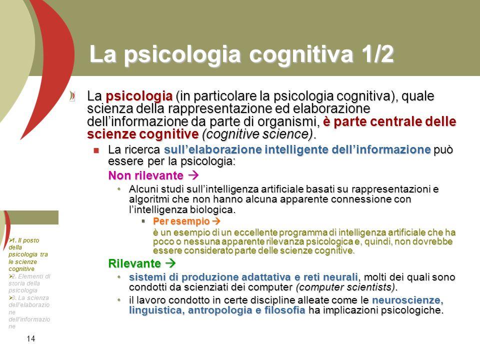 La psicologia cognitiva 1/2